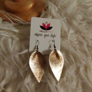 NWT Rose Gold Leather Teardrop Earrings